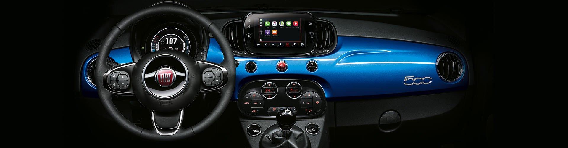 Fiat 500 Mirror Armaturenbrett blau